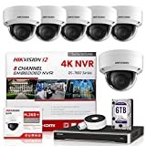 Hikvision IP Camera Kit DS-7608NI-I2/8P 8CH 4K PoE NVR Bundle with 6 x DS-2CD2143G0-I 4MP 2.8mm Hikvision Dome IP Cameras Replacement Model for DS-2CD2142FWD-I Genuine English International (13 Items)