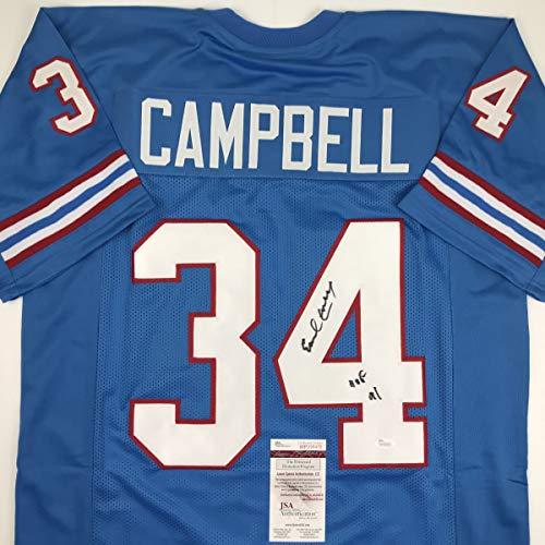 Autographed/Signed Earl Campbell HOF 91 Houston Blue Football Jersey JSA COA