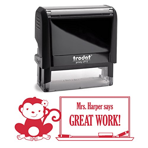 Red Ink, Monkey with Bow, Girl Customized Great Work Teac...