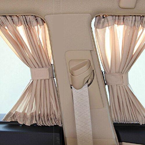 Dayiss® Allgemeinen Auto Vorhang Auto Sonnenschutzrollos Sonnenschutz Webart Auto-Mesh-Fenster Sonnenschutzvorhang (50L+cremefarben)