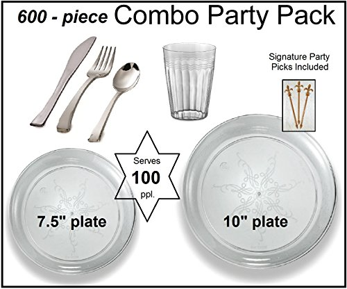Party Combo Pack-600 Pieces, Premium Plastic CLEAR Plates, Silver Cutlery, Clear Tumblers w/Bonus FDL Picks - SERVES 100