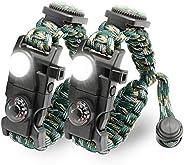LeMotech 21 in 1 Adjustable Paracord Survival Bracelet, Tactical Emergency Gear Kit Includes SOS LED Flashligh