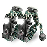 LeMotech 21 in 1 Adjustable Paracord Survival Bracelet, Tactical Emergency Gear Kit Includes