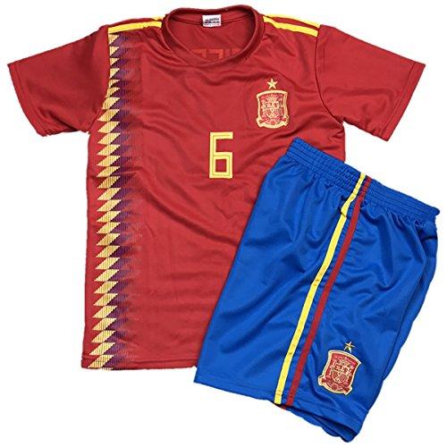 ハンディ薄い支出子供用サッカーユニフォーム(シャツパンツセット) 2018モデル スペイン代表 ホーム アンドレス?イニエスタ 背番号6 レプリカサッカーユニフォーム 子供用