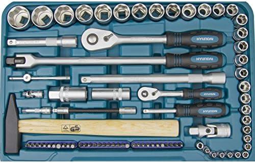 Hyundai Werkzeugset K101 101 Teilig Cr V Stahl 72 Zahn Umschaltknarren Super Lock Steckschlüsseln Werkzeugkoffer Steckschlüsselsatz Profiwerkzeug Baumarkt