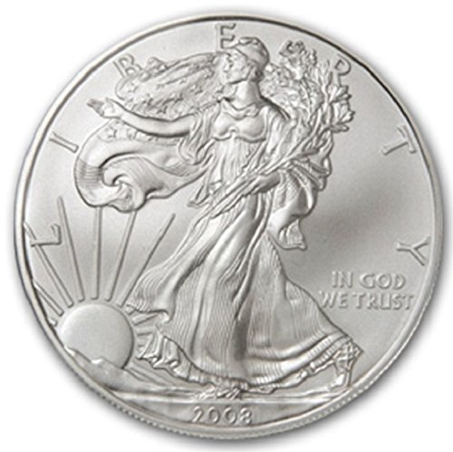 (2008-1 Ounce American Silver Eagle Low Flat Rate Shipping .999 Fine Silver Dollar Uncirculated US Mint)
