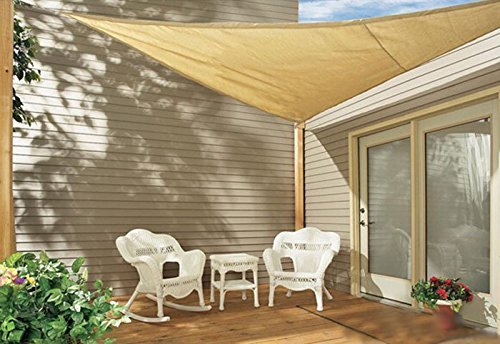 Sol Maya Triangle Patio Sun Shade Sail – Sand Color Available in Multiple Sizes 11.5 x 11.5 x 11.5