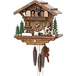 Kammerer Uhren Hekas Cuckoo Clock Black Forest house with moving wood chopper and mill wheel
