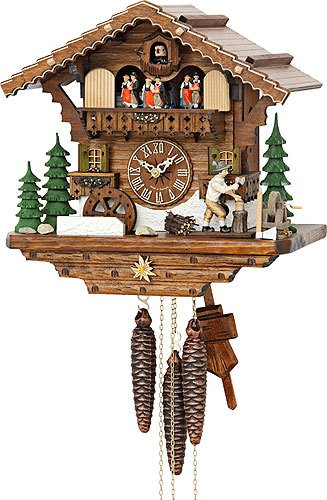 Kammerer Uhren Hekas Cuckoo Clock Black Forest house with moving wood chopper and mill wheel Black Forest Wood Products