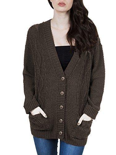 PurpleHanger Women's Long Sleeve Cable Knit Chunky Cardigan Dark Brown 8-10