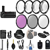58mm 21 Pc Accessory Kit for Canon EOS T6i, T7i, 77D, T6s, 750D, 800D, 760D DSLRs with Battery Grip, UV CPL FLD Filters, & 4 Piece Macro Close-Up Set, and More