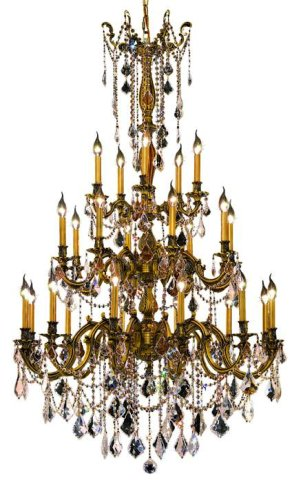 Elegant Lighting 9225G38FG/RC Rosalia 62-Inch High 25-Light Chandelier, French Gold Finish with Crystal (Clear) Royal Cut RC (Rosalia 25 Light Chandelier)