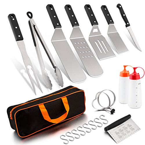 Leonyo Griddle Barbecue Accessories Tool Set, Stainless Steel Metal Spatula for Flat Top Teppanyaki BBQ Gas Hibachi…