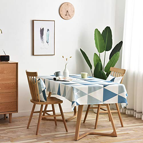 Vanmay Geometric Pattern Spillproof Modern Tablecloth Elegance Table Cover for Kitchen Dining Banquet Holiday Dinner Picnic Camping - Water Resistant Table Cloth (Blue, Rectangle, 53