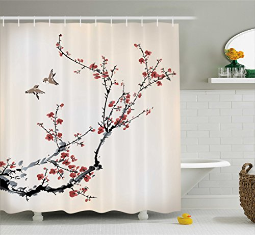 Curtain Asian (Ambesonne House Decor Shower Curtain, Cherry Branches Flowers Buds and Birds Asian Style Artwork with Painting Effect, Fabric Bathroom Set with Hooks, 69W X 70L Inches Long, Black and Burgundy)