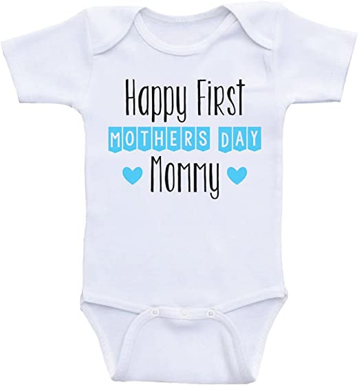 Mothers day Personalised baby bodysuit vest babygrow our 1st mothers day heart mummy gift boys girls