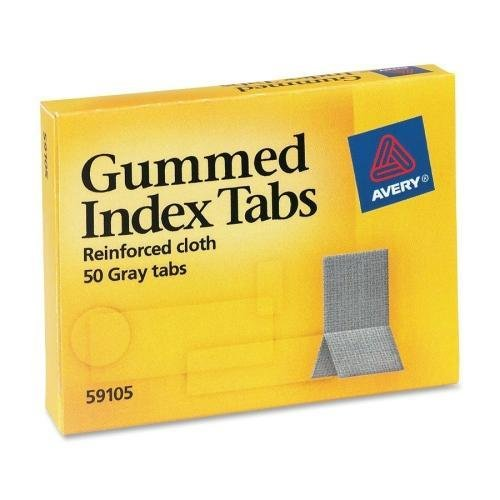 Cloth Gummed Index Tabs Reinforced - 59105 Avery Reinforced Cloth Gummed Index Tab - Write-on - 50 / Pack - Gray Tab