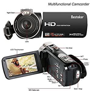 Video Camcorder, Besteker FHD 1080p Camcorders with External Microphone and Remote Control Digital Camera Camcorder by Besteker