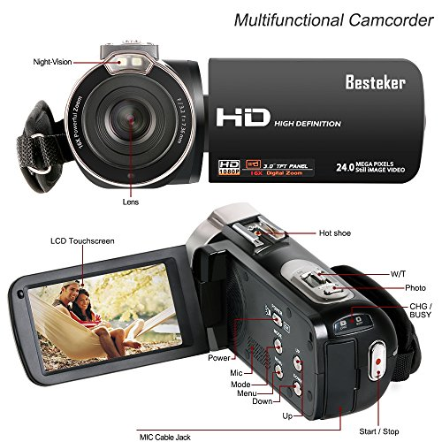 Video Camcorder, Besteker FHD 1080p Camcorders with External Microphone and Remote Control Digital Camera Camcorder