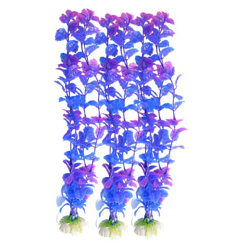 UPC 608641765076, Uxcell 3-Piece Aquarium Emulational Toothed Leaves Plant Décor Set, Purple/Blue
