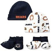 Gerber Childrenswear NFL Chicago Bears Print Cap & Bootie Set(4 Pack), 0-6 Months, Blue