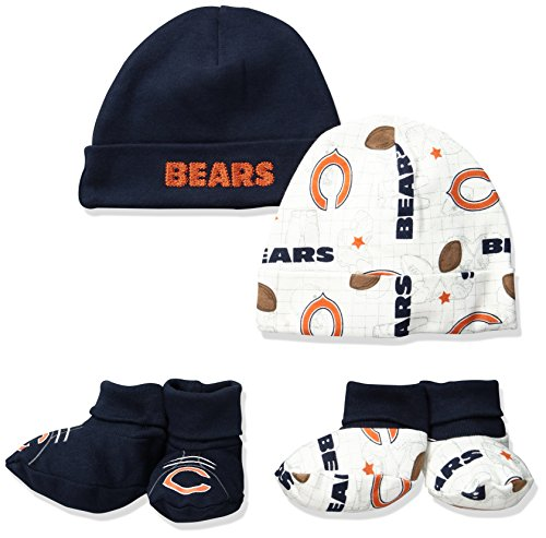 NFL Chicago Bears Print Cap & Bootie Set(4 Pack), 0-6 Months, Blue