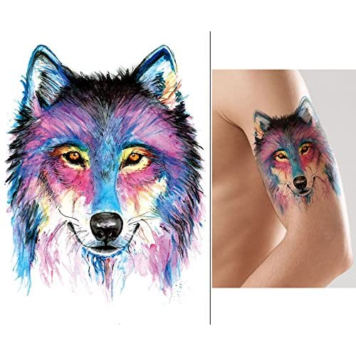 Wolf Animal Tatouage Tattoo Eau Couleurs Tattoo Autocollants Km174