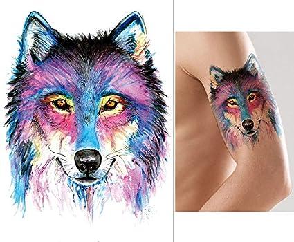 Wolf Tattoo Animales Tattoo Agua Colores Tattoo Pegatinas km174 ...