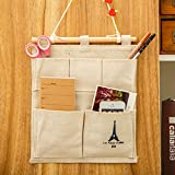 Wall Hanging Storage Bag,IEason 3 Grids Wall Hanging Storage Bag Organizer Toys Container Decor Pocket Pouch (Beige)