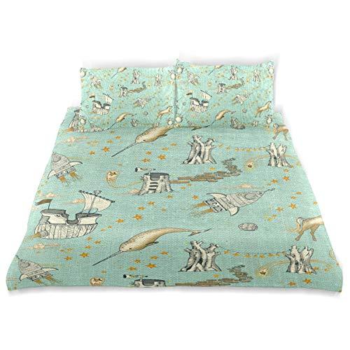 (Unicorn Enchanted UniverseKids Bedding Super Soft Three Sheet Set (2 Pillowcase, 1 Duvet Cover) for Boys, Girls Kids and Teens Bedding)