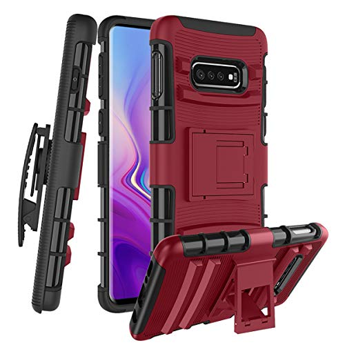 Case/ Samsung Galaxy S10 Lite W [Built-in Kickstand] Rotatable Combo Holster Phone Belt Clip Shock Absorption Heavy Duty Protective Case, PC-Red ()