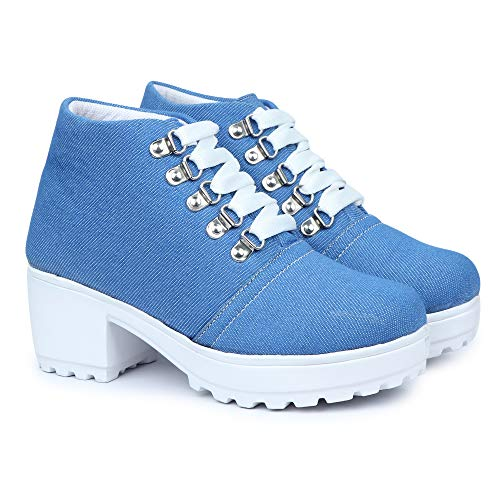 HimQuen Boot Denim Style Casual Outdoor High Heel Ankle for Women & Girls