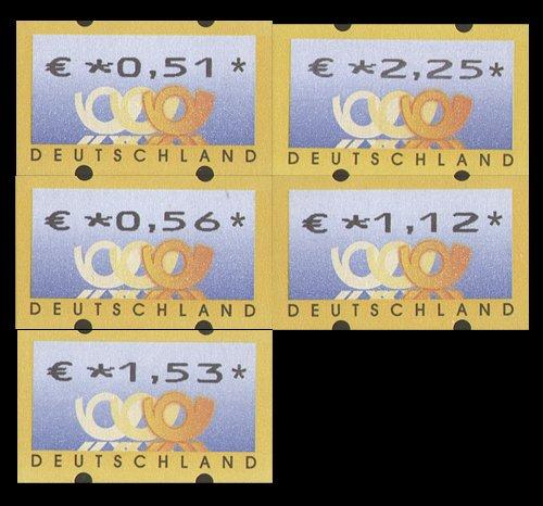 Goldhahn BRD ATM 4.1 VS2 postfrisch  051/056/112/153/225 Cent Briefmarken für Sammler