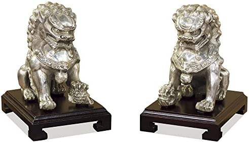 ChinaFurnitureOnline Hand Forged Silver Chinese Foo Dogs – 7 H