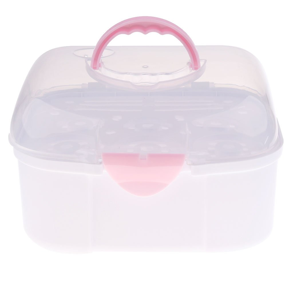 Prettyia Multifunctional Baby Milk Bottle Storage Box Container Organizer Rack - Pink, as described