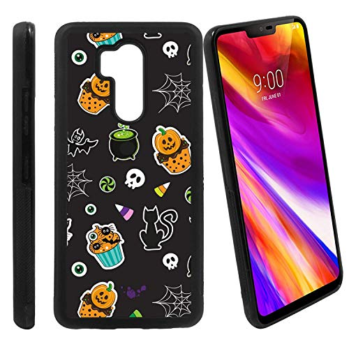 [Halloween Cupcake Pattern] Compatible with LG G7 ThinQ/LG G7 One / G7 Fit / G7+ / G710 / LG X5, Non-Slip Soft Rubber Side & Hard Back Case Cover Shell Skin -