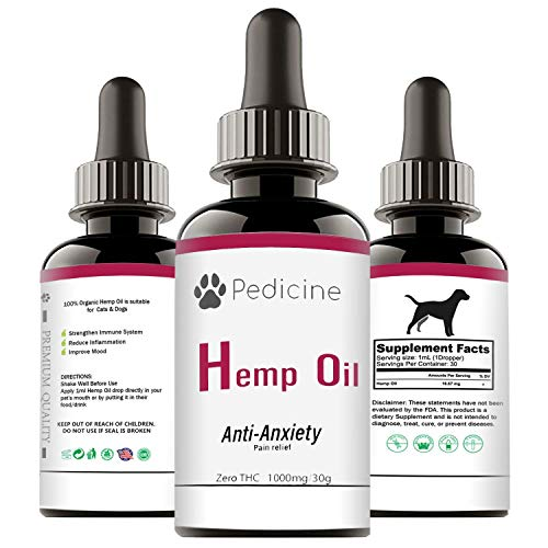 Pedicine 1000MG Oil for Dogs and Cats | Helps Reduce Stress, Anxiety and Pain | Great for Joint and Hip Pain | Hips and Joint Calming | Antianxiety for Cats and Dogs Medication