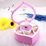Pink Heart Music Box,OIBTECH Mechanical Classical Ballerina Girl Dancing on the Muscial Box Heart-shaped with Jewelry Macke up Case Birthday Festival Gift for Childrens Friends and Lover