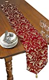Violet Linen Decorative Luxury Damask Vintage Design Table Runner, 13'' x 70'', Burgundy