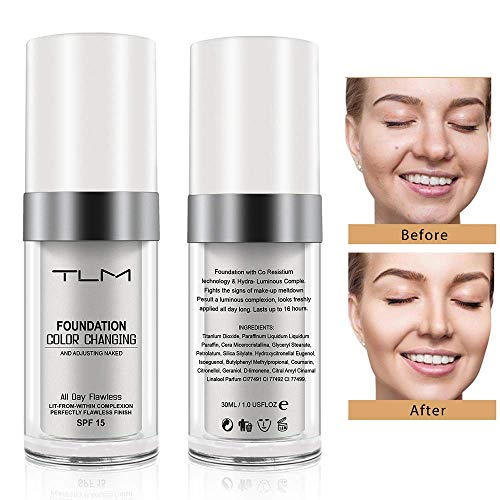 TLM Flawless Colour Changing Foundation Makeup, Concealer Cover Cream, Warm Skin Tone Foundation liquid, Base Nude Face Moisturizing Liquid Cover Concealer for Women and Girls ()