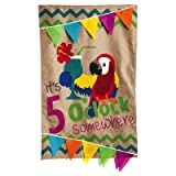 Coastal Burlap 5 o'clock Somewhere 2-Sided Vertical Flag Review