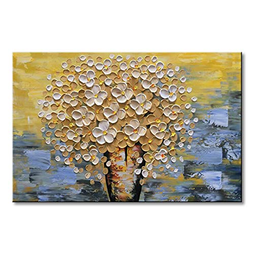 (Seekland Art Modern Canvas Wall Art Hand Painted Yellow Flower Oil Painting on Canvas Abstract Paintings for Living Room Bedroom Dining Room Bathroom Office (Framed 48