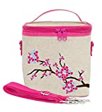 SoYoung Large Cooler Bag - Adult Lunch, Raw Linen, Eco-Friendly, Retro, Leakproof, Easy to Clean - Cherry Blossom