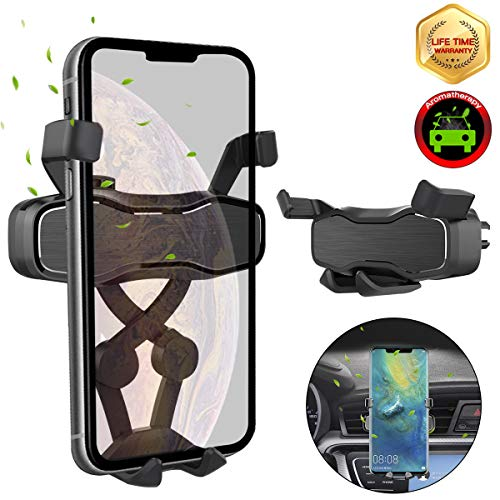 Car Phone Mount,Auto-Retractable Gravity Air Vent Car Phone Holder,[Built-in Aromatherapy Box]Cell Phone Holder Fit for iPhone Xs Max Xr Samsung Galaxy S10 Plus S10e Google Pixel 3a and All Smartphone ()