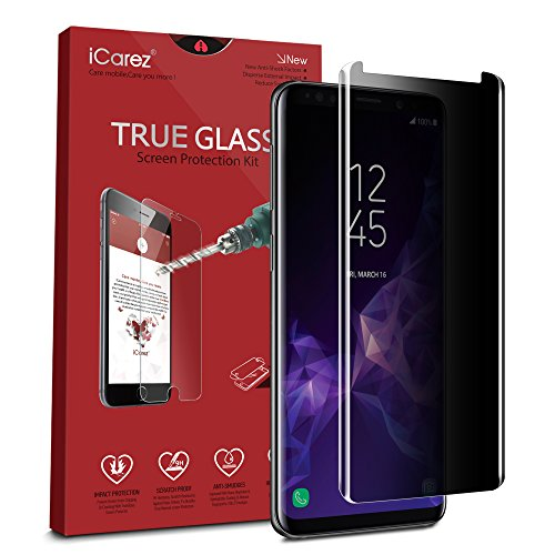 iCarez [Full Coverage Privacy Glass ] Screen Protector for Samsung Galaxy S9+ S9 Plus [Case Friendly] Easy Install [ 1-Pack 0.33MM 9H 2.5D] Anti Spy with Lifetime Replacement Warranty