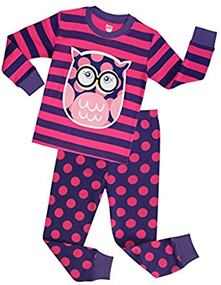 Girls Pajamas Children Christmas Sleepwear Toddler Owl Clothes Size 2-10 Years