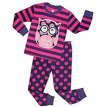 Girls Pajamas Children Christmas Sleepwear Toddler Owl Clothes Size 2-10 Years