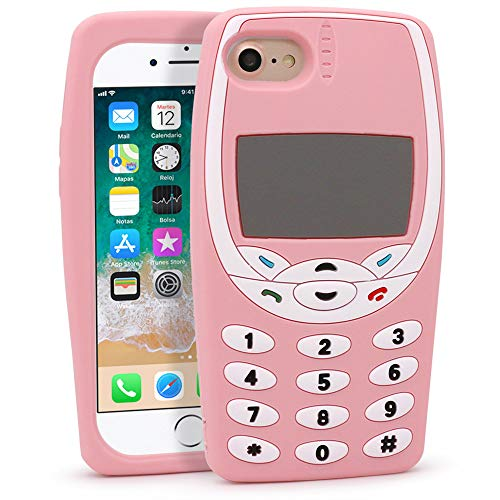 Megantree Cute iPhone 7 Case, iPhone 8 Case, Funny Cartoon 3D Keyboard Cell Phone Shaped case, Soft Silicone Full Protection Shockproof Cases Back Cover for Girls Kids Women Lady