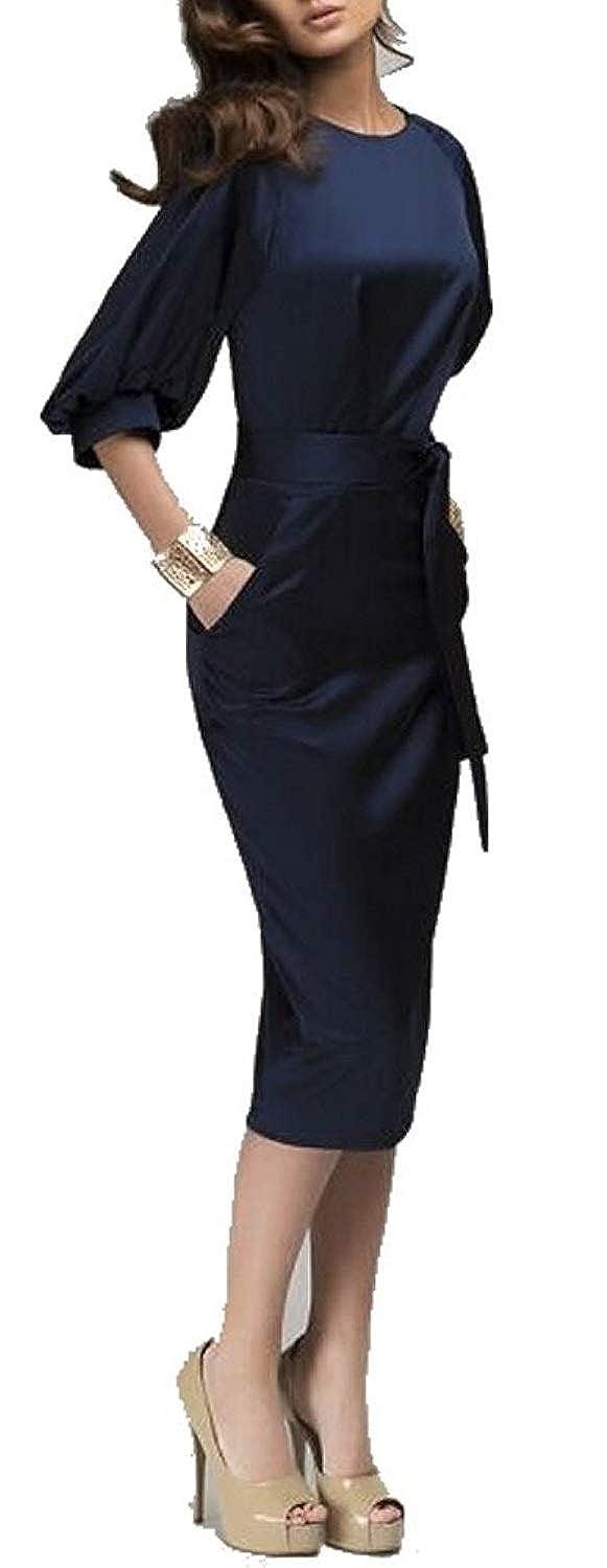 Superhouse Womens Lantern Sleeve Navy Blue Wear to Work with Belt Dress Plus-Size