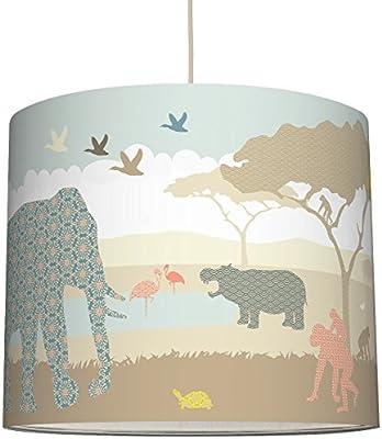 Anna Wand Lampenschirm Hello Africa Naturfarben Schirm Fur Kinder Baby Lampe Mit Tieren Aus Afrika In Versch Farben Sanftes Licht Fur Tisch